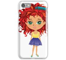 Redhead girl standing with hair brush iPhone Case/Skin