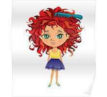 Redhead girl standing with hair brush Poster