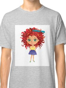 Redhead girl standing with hair brush Classic T-Shirt