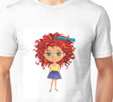 Redhead girl standing with hair brush Unisex T-Shirt