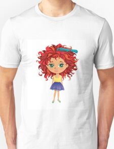 Redhead girl standing with hair brush T-Shirt