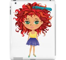 Redhead girl standing with hair brush iPad Case/Skin