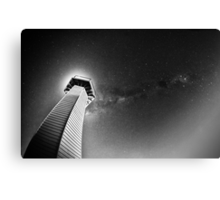 Milky way with lighthouse Canvas Print