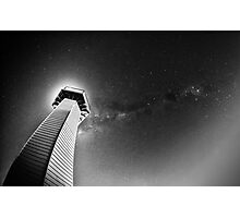 Milky way with lighthouse Photographic Print