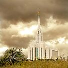 Oquirrh Mountain Temple Sepia Sky 20x24 by Ken Fortie