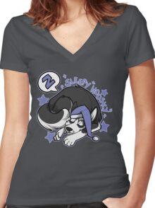 Sleepy Hoosky Women's Fitted V-Neck T-Shirt