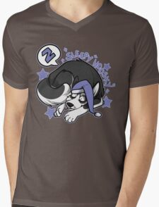 Sleepy Hoosky Mens V-Neck T-Shirt