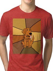 Funny Golden Retriever Puppy Abstract Tri-blend T-Shirt