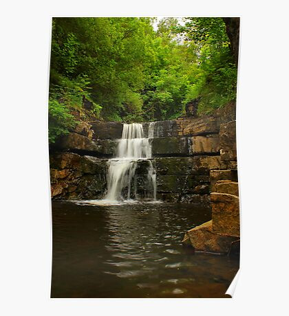 Waterfall steps, Bowlees Beck, Durham,England Poster