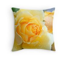 Raindrops on Yellow Rose Throw Pillow