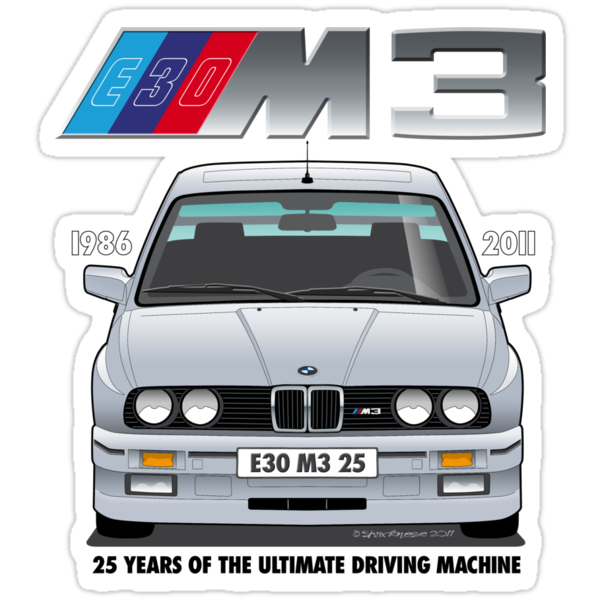 BMW E30 M3 25th Anniversary (Lachs Silver) Black Text by Sharknose