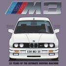 BMW E30 M3 25th Anniversary (Alpine White) Black Text by Sharknose