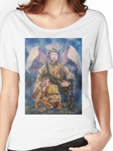Fallen Soldier Angel Print Women's Relaxed Fit T-Shirt