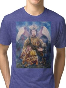 Fallen Soldier Angel Print Tri-blend T-Shirt
