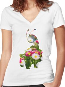 Meganium used petal blizzard Women's Fitted V-Neck T-Shirt