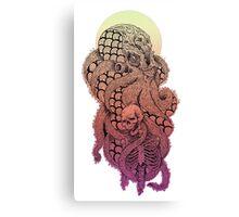 SQUID OCTOPUS SKULL CREAM YELLOW ORANGE PINK PURPLE  Canvas Print