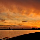 Sunset over Portsmouth harbour, UK by Sharon Bishop
