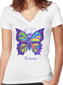 A Yoga Butterfly for Teresa Women's Fitted V-Neck T-Shirt
