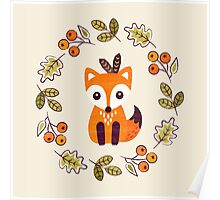 Little Fox with Autumn Berries Poster