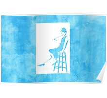 Audrey Hepburn Breakfast at Tiffany's Watercolour Sitting On Chair Blue   Poster