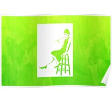 Audrey Hepburn Breakfast at Tiffany's Watercolour Sitting On Chair Green    Poster