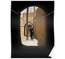 Veiled woman in the streets of Yazd, Iran Poster