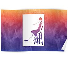 Audrey Hepburn Breakfast at Tiffany's Watercolour Sitting On Chair Purple    Poster