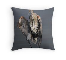 Great Blue Heron with Something to Say Throw Pillow