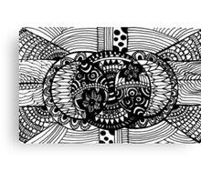 Chaotic Simplicity - Black and White Mandala Zentangle  Canvas Print