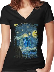 British Blue phone box painting Women's Fitted V-Neck T-Shirt