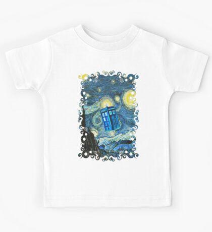 British Blue phone box painting Kids Tee