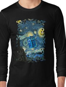 British Blue phone box painting Long Sleeve T-Shirt