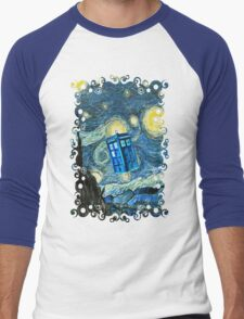 British Blue phone box painting Men's Baseball ¾ T-Shirt