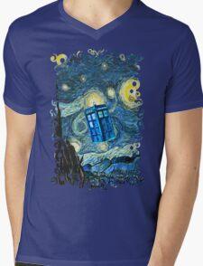 British Blue phone box painting Mens V-Neck T-Shirt