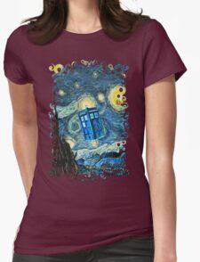 British Blue phone box painting Womens Fitted T-Shirt