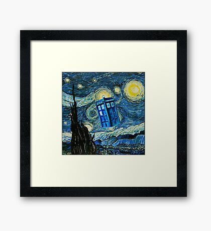 British Blue phone box painting Framed Print