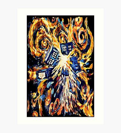 Big Bang Attack Exploded Flamed Phone booth painting Art Print
