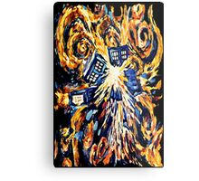 Big Bang Attack Exploded Flamed Phone booth painting Metal Print
