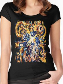 Big Bang Attack Exploded Flamed Phone booth painting Women's Fitted Scoop T-Shirt