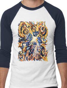 Big Bang Attack Exploded Flamed Phone booth painting Men's Baseball ¾ T-Shirt
