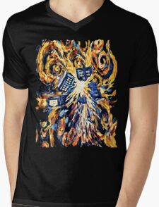 Big Bang Attack Exploded Flamed Phone booth painting Mens V-Neck T-Shirt