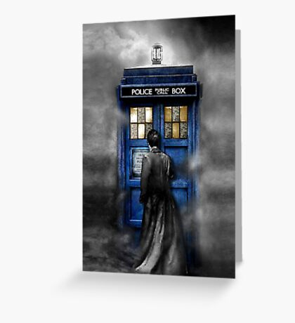 Mysterious Time traveller with Black suit Greeting Card