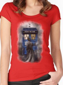 Mysterious Time traveller with Black suit Women's Fitted Scoop T-Shirt