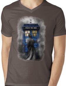 Mysterious Time traveller with Black suit Mens V-Neck T-Shirt