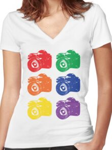 ROYGBV Camera Women's Fitted V-Neck T-Shirt