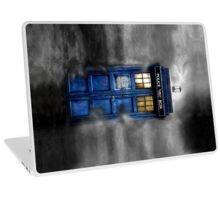 Haunted blue phone booth Laptop Skin