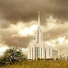 Oquirrh Mountain Temple Sepia Sky 20x30 by Ken Fortie