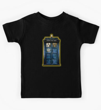 Space And Time traveller Box With yellow stained glass Kids Tee