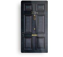 Black Door with 221b number Metal Print