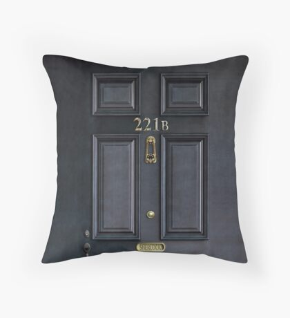Black Door with 221b number Throw Pillow
